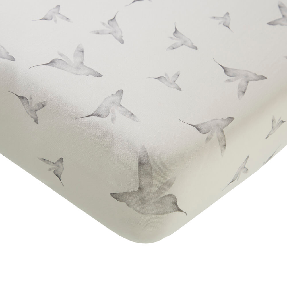 Mies & Co baby lifestyle Fitted sheets Little Dreams offwhite hoeslaken wit vogels