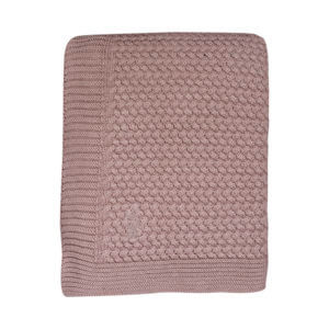 Mies & Co baby lifestyle Soft knitted blanket toddler bed pale pink deken gebreid ledikant roze